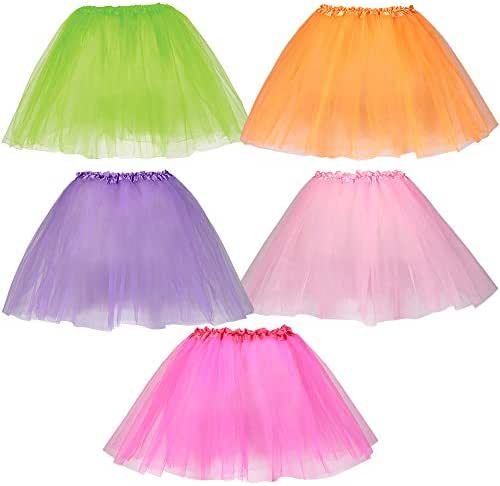 Dress Up America, Tutus for Girls - Pack of 5 Different Colored Tulle Layered Tutu Skirts