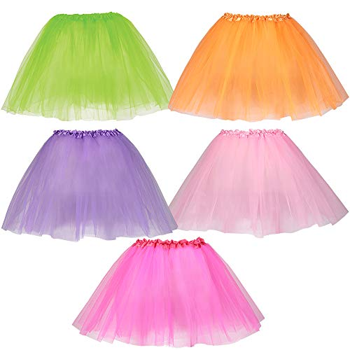 Dress Up America, Tutus for Girls - Pack of 5 Different Colored Tulle Layered Tutu Skirts -
