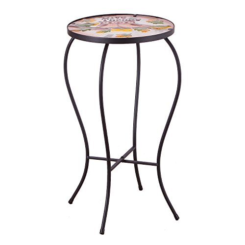 Joveco Hand Painted Style Multicolor Artscape Accent Glass Top Round Side Table Plant Stand - Owl by Joveco