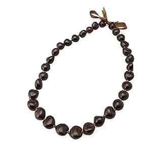 Collar hawaiano de color marrón Kukui tuercas símbolo de la Paz, ilustración, protección