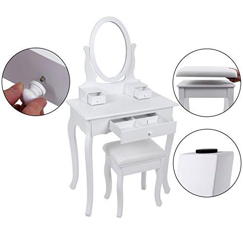 Songmics 3 cassetti tavolo cosmetici mobile da trucco da toeletta con sgabello c ebay - Mobile da trucco ...