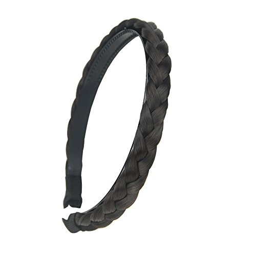aHairBeauty Hair Plaited Braided Headband Synthetic Hairpieces Braid Wig with Teeth Hair Band Accessories For Women Girl Wide 1 Cm (Black #1B/6)
