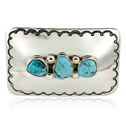 $250 Tag Certified Authentic Navajo Nickel Turquoise Native American Buckle 1193 Made by Loma Siiva