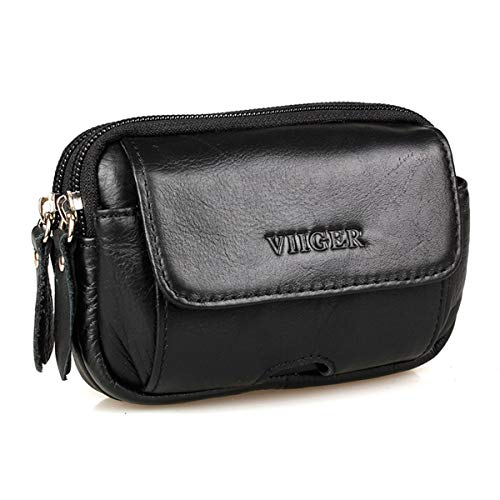 VIIGER Multipurpose Horizontal Leather Phone Holster Belt Pouches for Men with Belt Loop Belt Holster Case Small Travel Waist Bag Pack Flip Cell Phone Carrying Case Pouch Hip Purse for Work, Black