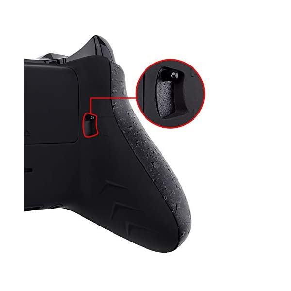 eXtremeRate FlashShot Trigger Stop Bottom Shell Kit for Xbox One S & One X Controller, Redesigned Back Shell & Textured Black Handle Grips & Hair Trigger for Xbox One S X Controller Model 1708 5