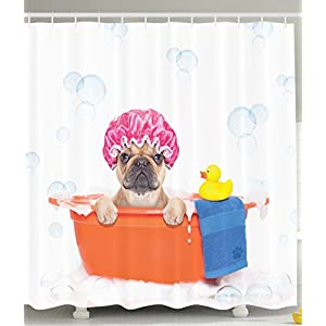 Ambesonne Cute Dog in Bathroom with Rubber Duck Having a Bath Print Lover Funny Home Decorations for Bathroom Art Prints Kids Dogs Decor Polyester Fabric Fun Shower Curtain Orange Pink Blue White