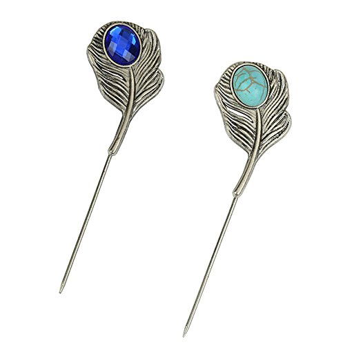 AngelShop Men Metal Brooch Pin Vintage Lapel Stick Pin Suit Tie Brooch Badge (Stone)