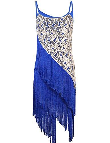 Prettyguide Women's 1920s Paisley Art Deco Sequin Tassel Glam Flapper Costume Dress 2-4 Blue
