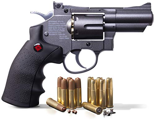 "Crosman SNR357 .177 Pellet/4.5 mm BB CO2-Powered Revolver Black/Grey 2.5"" snub nose"