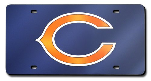 Rico Industries NFL Chicago Bears Laser Inlaid Metal License Plate Tag (Chicago License Laser Bears Plate)