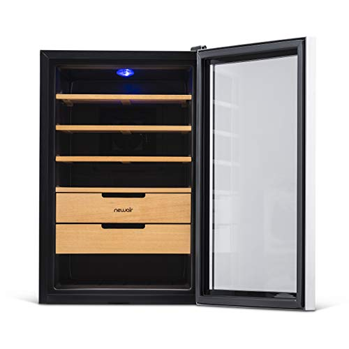 NewAir Cigar Humidor Climate Controlled with 400 Cigar Capacity - Digital Heating and Cooling Feature - Includes Spanish Cedar Shelves and Lock - CC-300H - Stainless Steel by NewAir (Image #7)