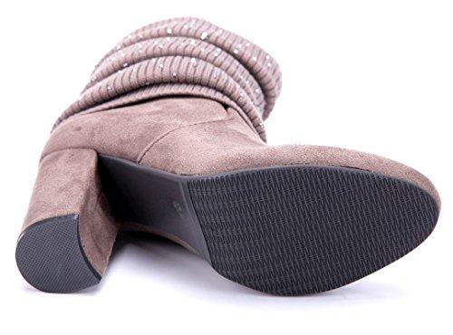 6a03f5c6e7f116 ... Schuhtempel24 Damen Schuhe Klassische Stiefeletten Stiefel Boots  Blockabsatz Ziersteine 9 cm Khaki ...