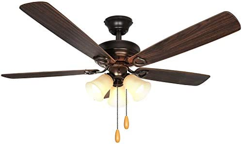 52 Inch LED Indoor Oil-Rubbed Bronze Ceiling Fan