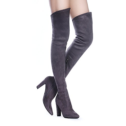 Tale Heel Over Women Shoe'N Boots Stretch Grey Suede Chunky The Thigh High Knee HqZw1g