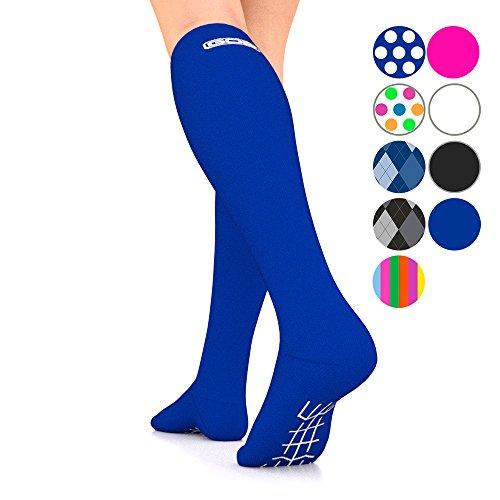 Go2Socks GO2 Compression Socks for Men Women Nurses Runners 16-22 mmHg (Medium) - Medical Stocking Maternity Travel - Best Performance Recovery Circulation Stamina - (Blue, Large Single)