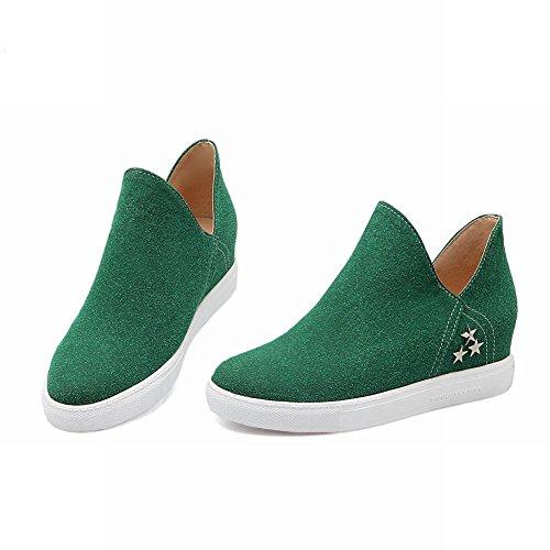 Latasa Mujeres Chic Faux Nubuck Star Tachonado En El Interior De La Cuña Slip On Mocasines Zapatos, Comfort Zapatos Dark Green