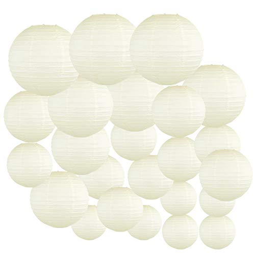 Just Artifacts Decorative Round Chinese Paper Lanterns 24pcs Assorted Sizes (Color: Ivory)]()