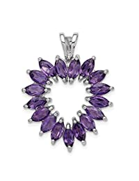 925 Sterling Silver Marquise Purple Amethyst Heart Pendant Charm Necklace Gemstone Love Fine Jewelry For Women Gift Set