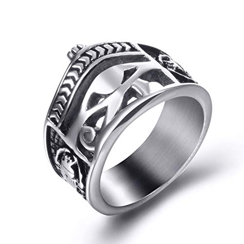 Men Stainless Steel Rings Egyptian Eye of Horus Crown Cross of Life Ankh Scarab Symbol Vintage Jewelry Size 12