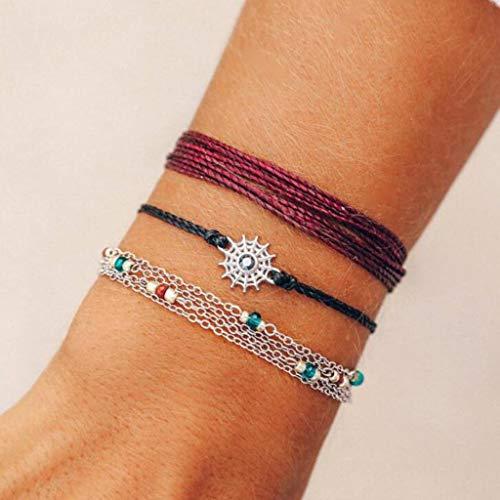 Chirpa Fashion Bohemian Wind Wire Mang Star Disc Beaded Chain Bracelet Three-Piece Set
