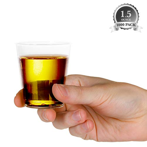 1000 Plastic Shot Glasses - 1.5 Oz Disposable Cups - 1.5 Ounce Shot Glasses - Ideal for Whiskey, Wine Tasting, Food Sampling and Sauce Dipping at Catered Events, Parties and Weddings (Clear)