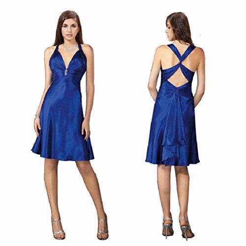 Yanzhong Vêtements Sexy Strass Satin Une Ligne Cocktail Nuit Robe De Bal Du Club Bleu Royal Bleu Royal