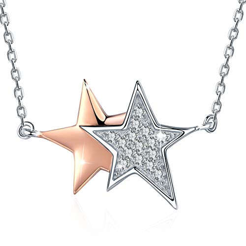 SIMPLOVE Double Star Pendant Necklaces 925 Sterling Silver Luminous CZ Jewelry with Chain 18'' Gift for Women Teens Girls