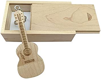 4GB, Maple Wood//2.0 Guitar Shaped Maple Wood Memory Stick USB Flash Drive in Wood Box