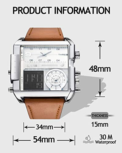 Top Plaza Men's Digital Sports Watch LED Screen Big Face Military Watches - Waterproof Casual Luminous Stopwatch Soft Leather Band