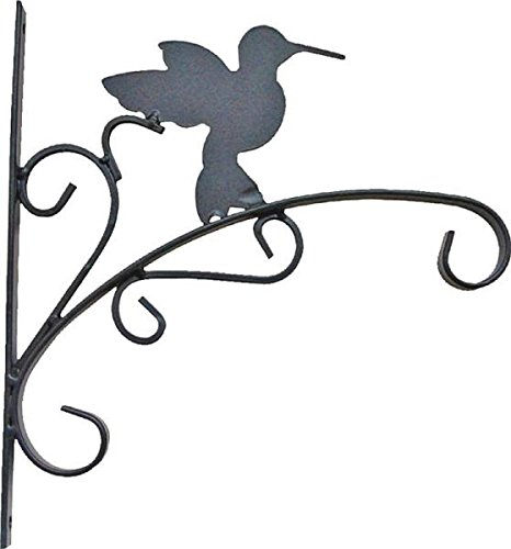 "Rocky Mountain Goods Hanging Planter Bracket with Install Kit 11"" - Holds up to 20"" Pot and 45 lbs - Rust Proof Wrought Iron - Includes install screws (Hummingbird) -"