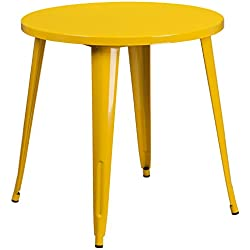 Flash Furniture 30'' Round Yellow Metal Indoor-Outdoor Table