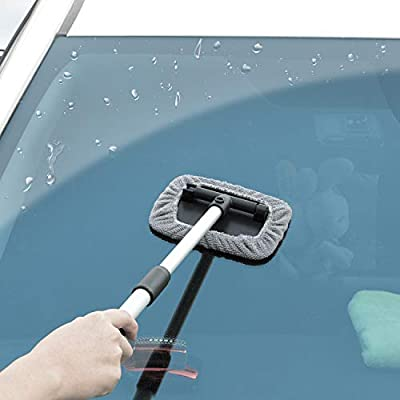 Frienda Windshield Glass Cleaning Tool Car Window Cleaner Brush Auto Glass Wiper with Extendable Handle and 8 Pieces Washable Reusable Microfiber Cloth for Cleaning Car Window Windshield: Automotive