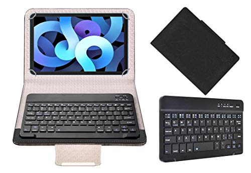 Acm Wireless Bluetooth Keyboard Case Compatible with Apple Ipad Air (2020) Tablet Flip Cover Stand Study Gaming Black
