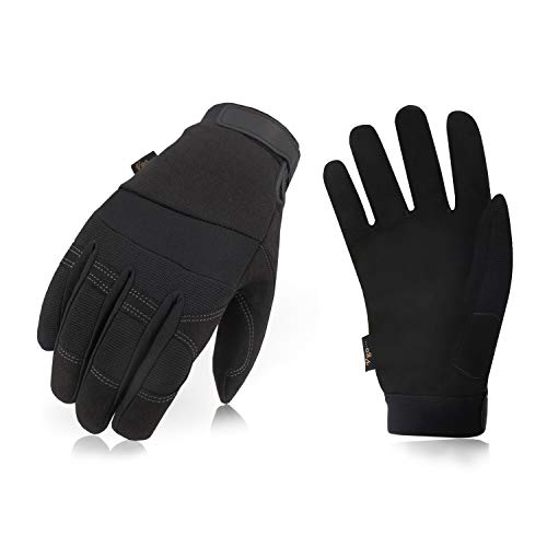 Vgo 3Pairs 32℉ or Above 3M Thinsulate C40 Lined Winter Warm Synthetic Leather Gloves(Size L,Black,SL8270F) 3 Meter Thinsulate Gloves