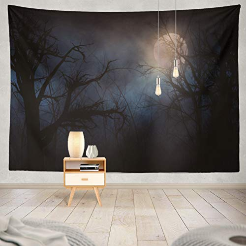 KJONG Night Forest with Bright Moon Clouds Horror Spooky Creepy Woods Dark Scary Decorative Tapestry,60X80 Inches Wall Hanging Tapestry for Bedroom Living Room ()