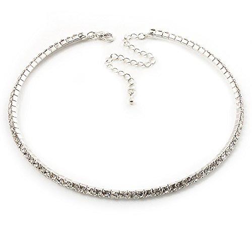 Swarovski Choker - Thin Clear Swarovski Crystal Choker Necklace (Silver Plated)