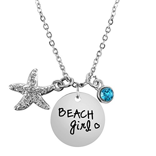 I Love Beach Jewelry Beach Girl Necklace Starfish Birthstone Necklace