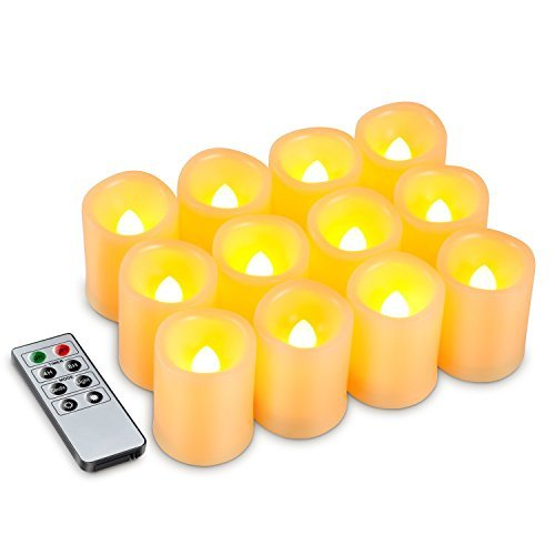 Kohree Flameless Battery Operated LED Pillar Candles Unscented Ivory Votive Remote Candles with Remote Control & Timer, Amber Yellow Flame(12 Set) HP110