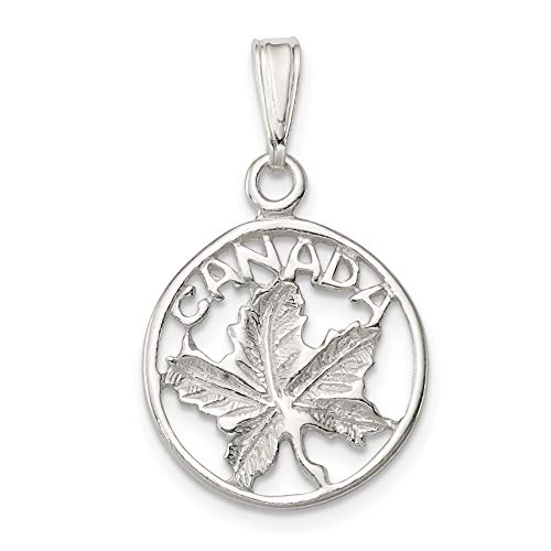 Canada Word and Maple Leaf in Round Charm in Polished 925 Sterling Silver 20x17mm (Store British Ontario)