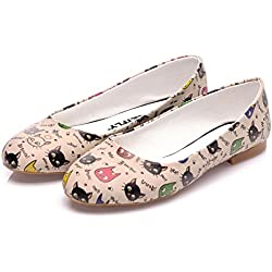 Streetfly ballet flats for women – Pretty Ballerina Designer Shoes, Beige Multicolor Cat (9 B(M) US / 40 M (EU), BBT-06)