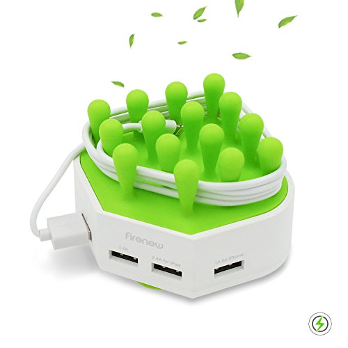 Firenew Charging Station Cable Management Organizer 4-Port with Smart IC Tech for iPhone 6 7S plus Samsung S 7 8 iPad Tables Other Devices (Green)