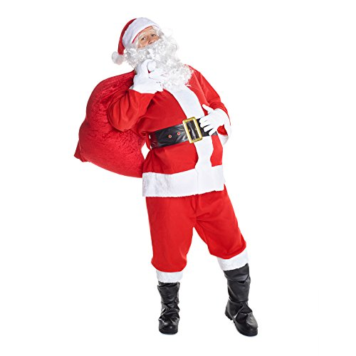 Mens Santa Claus Costume Father Christmas Suit for Men Festive Outfit -