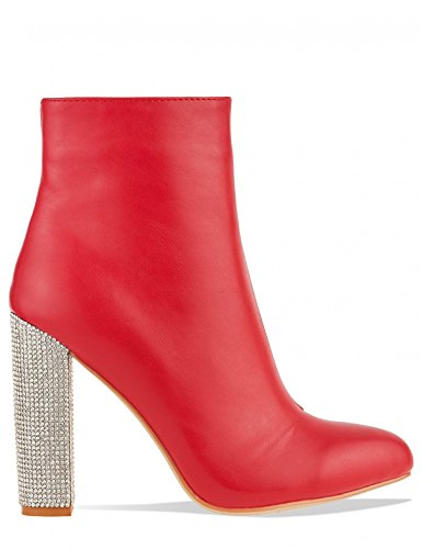 LAMODA Womens Diamante Heel Detail Ankle Boots in PU Red