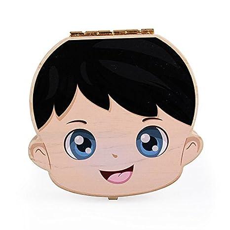 ragazzo 12.5 12.5 2.5cm bambina aikesi scatola di denti di bambini scatola di ricordi neonato in legno spagnolo