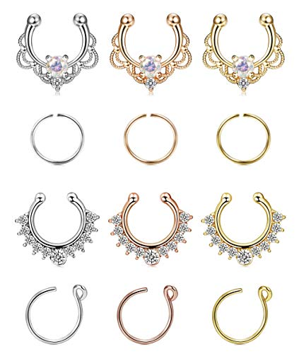 FIBO STEEL 12-16 Pcs Stainless Steel Fake Nose Hoop Ring Septum Clip On Nose Ring Body Piercing Jewelry
