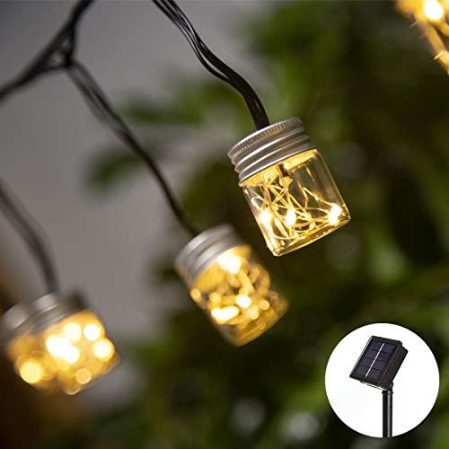 Elnsivo Solar Fairy Jar String Lights Mason Bottel Garden Decorative Lighting Chain for Indoor/Outdoor Home,Xmas Tree,Party,Wedding,Festival,Patio (For Mason Solar Jars Caps)