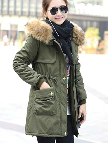 Fur Coat Sleeve Lining Collar Long Fuax Hoodie Parkas Womens Fleece Khaki EKU UvfBx