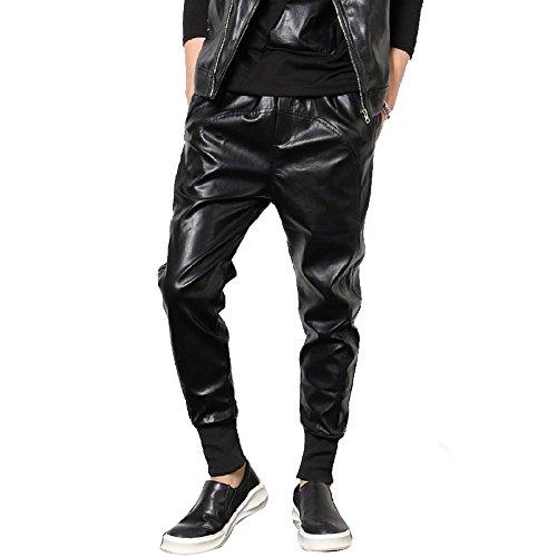 Mens Leather Biker Trousers - 7