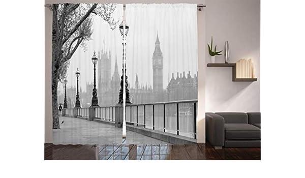 Night London Red Bus 3D Blockout Photo Mural Printing Curtain Drap Fabric Window