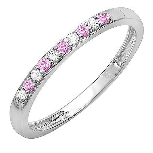 Dazzlingrock Collection 10K Round Pink Sapphire & White Diamond Ladies Wedding Band Ring, White Gold, Size 6